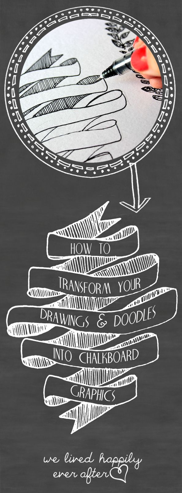 "We Lived Happily Ever After: Transfer your Writing, Drawings & Doodles into Chalkboard Graphics & Printables Using Photoshop! OK I SERIOUSLY NEED to start learning how to use ""Photoshop"""