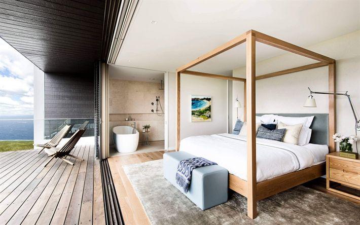 Download wallpapers interior bedroom, country house, modern bedroom design, wooden bed