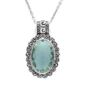 Aura 925 Sterling Silver Marcasite with Green Fluorite Gemstone Chain Necklace 18 Inch - Free Shipping