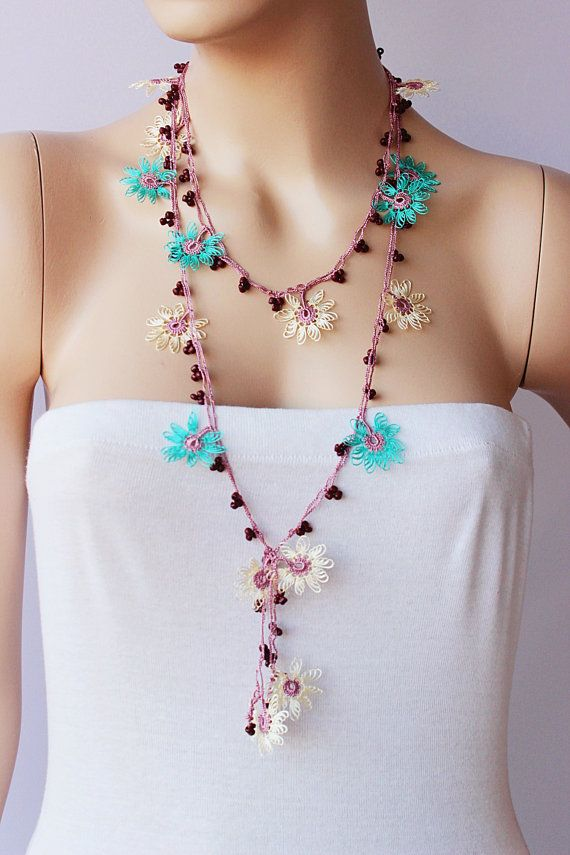 Beaded fiber necklace crochet necklace Turkish oya by SenasShop