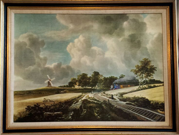 """""""Toot toot!"""" Upcycled Thrift Shop Art. Acrylic painted on Thrift Shop Art print of """"Wheat Fields"""", by Jacob van Ruisdael (Dutch, Haarlem 1628-29 - 1682 Amsterdam) with Thomas the Tank Engine, train tracks and a Sodor windmill painted in. By Jo Brookshaw"""