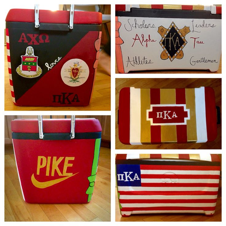 SARA ♚ SHREEVEPike pi kappa alpha fraternity cooler for pike dream girl Nike logo alpha tau alpha chi omega American flag crest