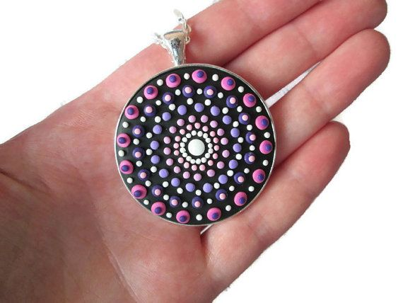 pink mandala pendant mandala necklace mandala spiritual buddhist indian jewelry by FloralFantasyDreams