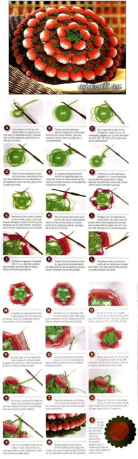 Crochet Strawberry Pillow - Tutorial ❥ 4U // hf
