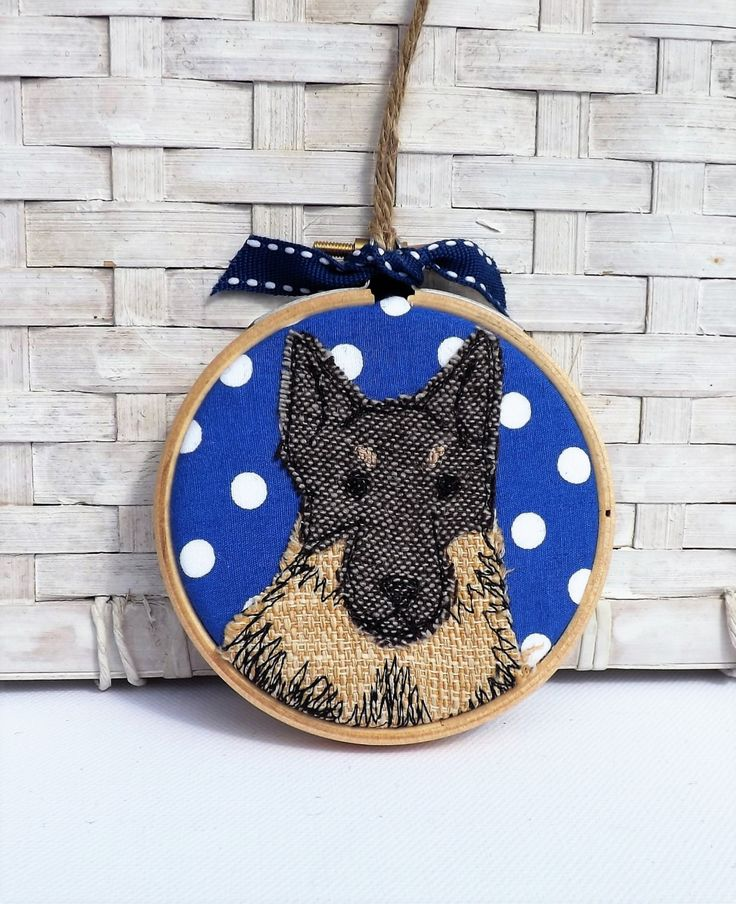 German Shepherd mini hoop applique and free motion embroidery by TheDogandtheMoon on Etsy