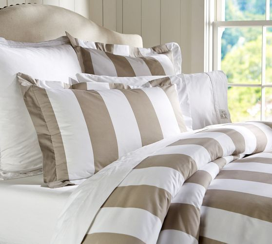 PB Classic Stripe 400 Thread Count Duvet Cover & Sham   Taupe