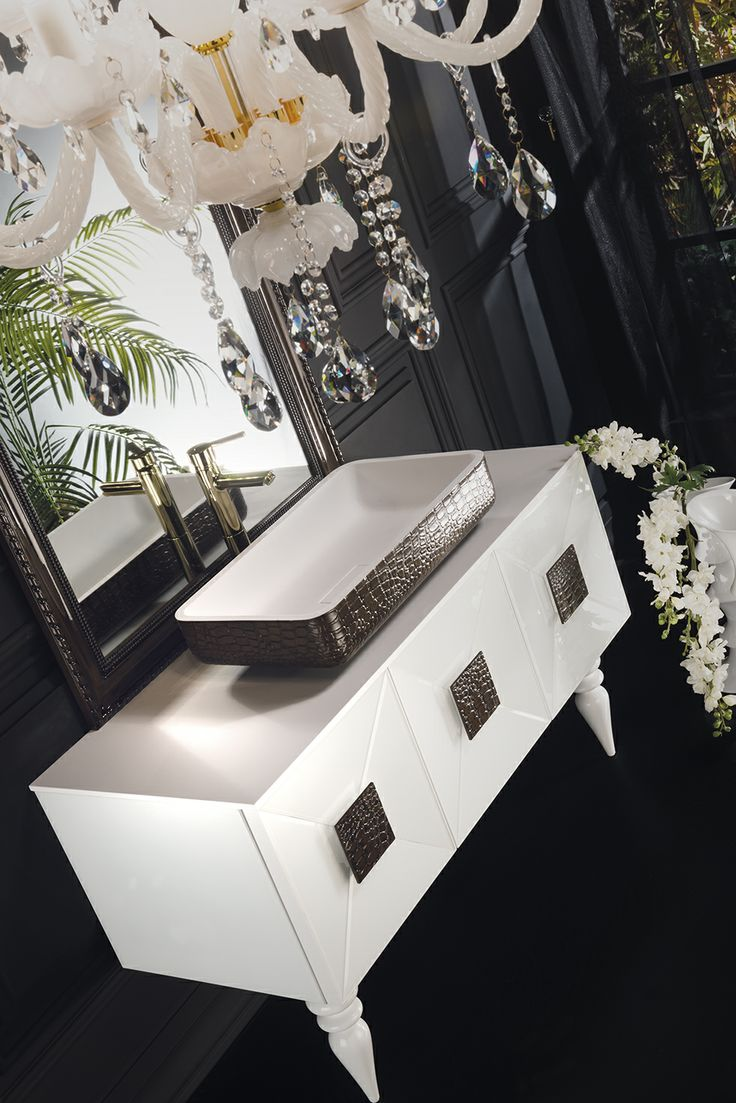 Topex Armadi Art White And Dark Crocodile Leather Glass Fiaba Bath Vanity From Our Avantgarde Collection!
