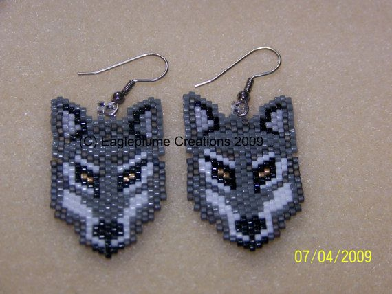 These Native American inspired Grey Wolf Dangle Brick stitch beaded earring are made from glass delica beads. These earrings are custom made