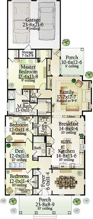 Best 25 narrow house plans ideas on pinterest narrow for Narrow lot house plans with rear garage