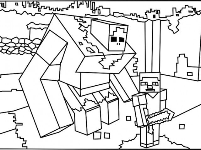 Printable Roblox Minecraft Monster Coloring Page