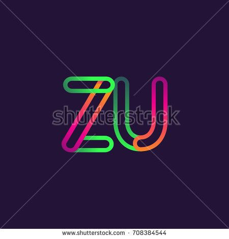 initial logo letter ZU, linked outline colorful rounded logotype.