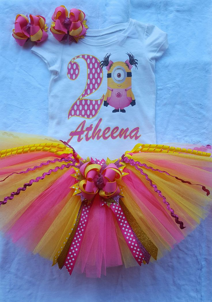 Minions Birthday Tutu Outfit - Shirt w/name & Age - Tutu skirt - Double Hair Bows *Please include name and age in the comments during checkout.