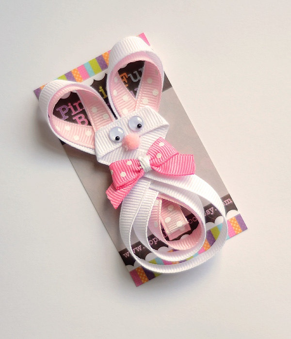 Easter Hair Bow, Easter Hair Clip, Easter Bunny Ribbon Sculpture, Easter Clippie, Boutique Easter, Easter, Infant Toddler Easter Clippie. $4.00, via Etsy.