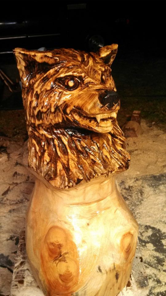 Scary wolf carving carved wood chain saw pinterest