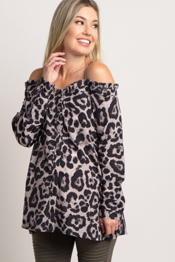 This leopard print maternity top is the perfect piece to add a fabulous flair to your wardrobe. With a leopard print, button front accent, and open shoulder, this maternity top is the ultimate glamorous addition to your ensemble. Style with basic solid maternity jeans and some boots for a cute fall look.
