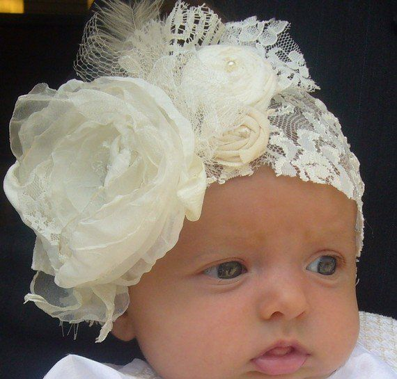 Vintage lace handcrafted baby headband - Cozette Couture