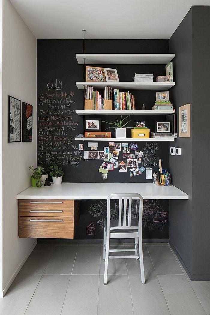 Kreative Wandgestaltung im Home Office offene Wandregale