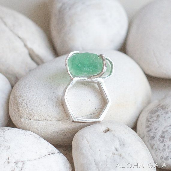 Ring With Natural Rough Green Fluorite by alohagaia on Etsy, $29.00