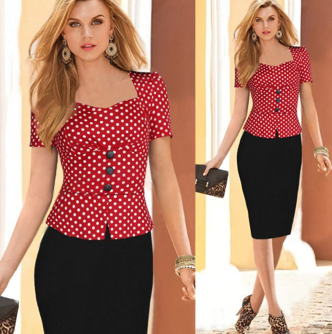 - Vintage pinup trendy wiggle office dress for the modern woman - Comes with top and bottom for a complete stylish look - Great for the working woman or a casual day out - Available in 2 colors