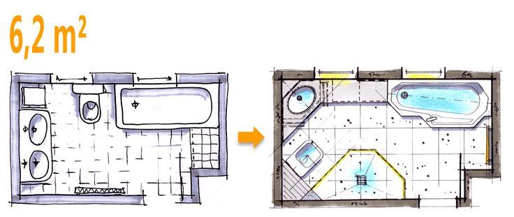 badplanung beispiel 6,2 qm außergewöhnliche komplettbad-idee, Badezimmer