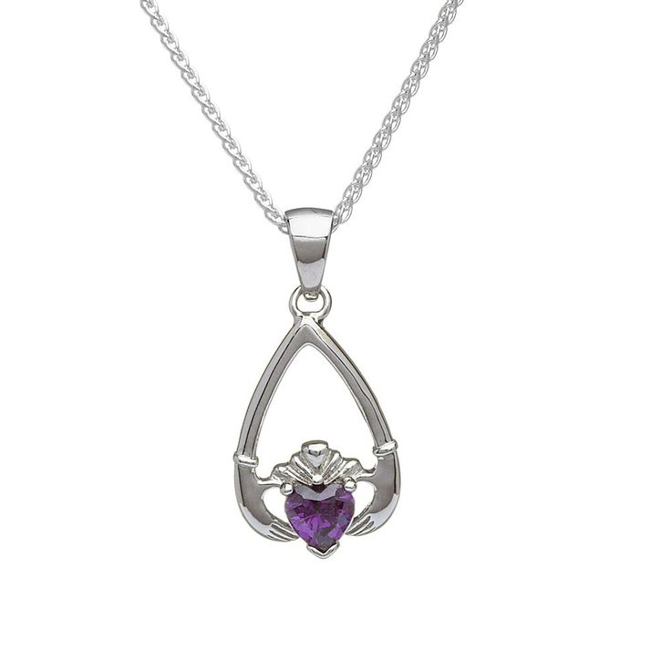 February Birthstone Claddagh Pendant - Claddagh Birthstone Jewelry - Rings from Ireland