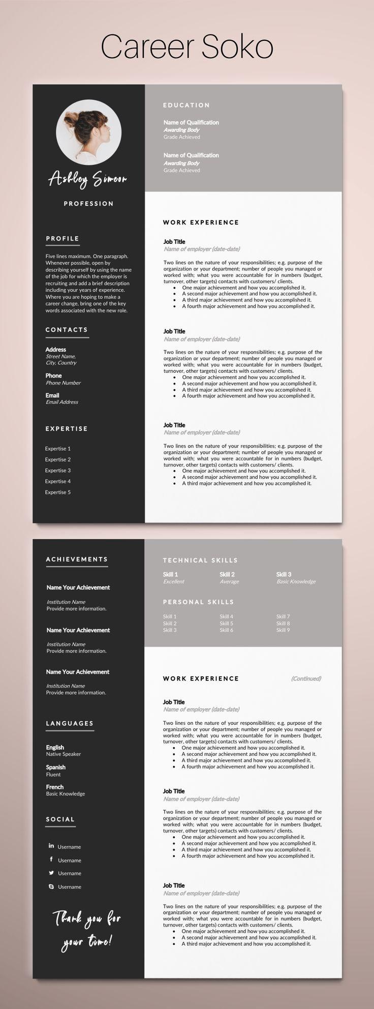 Resume Template Word Cv Template Curriculum Vitae 2 Page Etsy Resume Template Word Minimalist Resume Resume Template