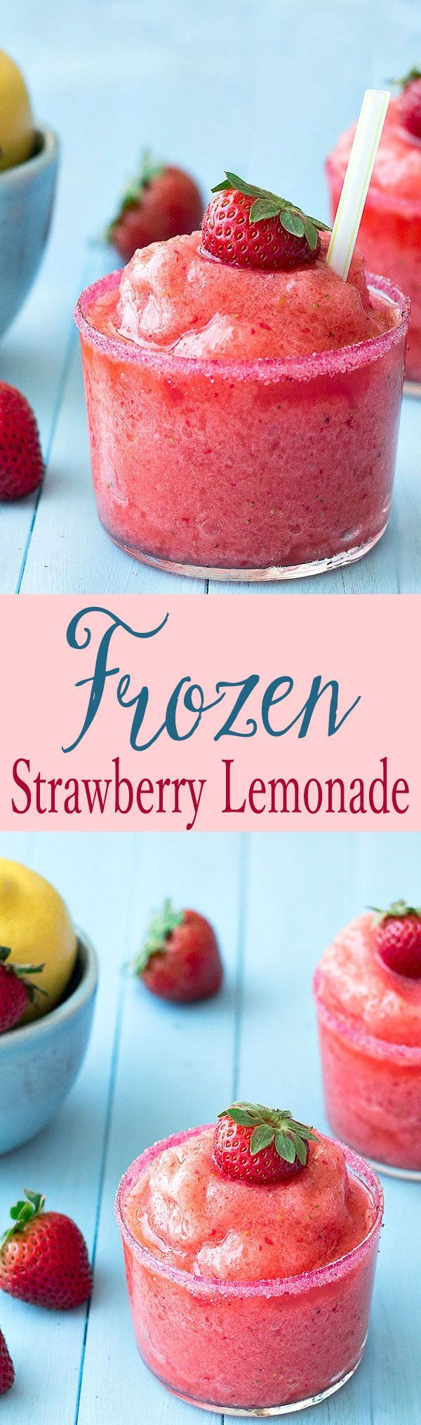 This frozen strawberry lemonade is so easy to make, full of fresh strawberries and tart lemons. It's the perfect drink to cool you off this summer!