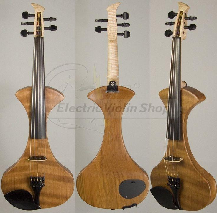 MSI 5-string Semi-Hollow electric violin, flamed redwood