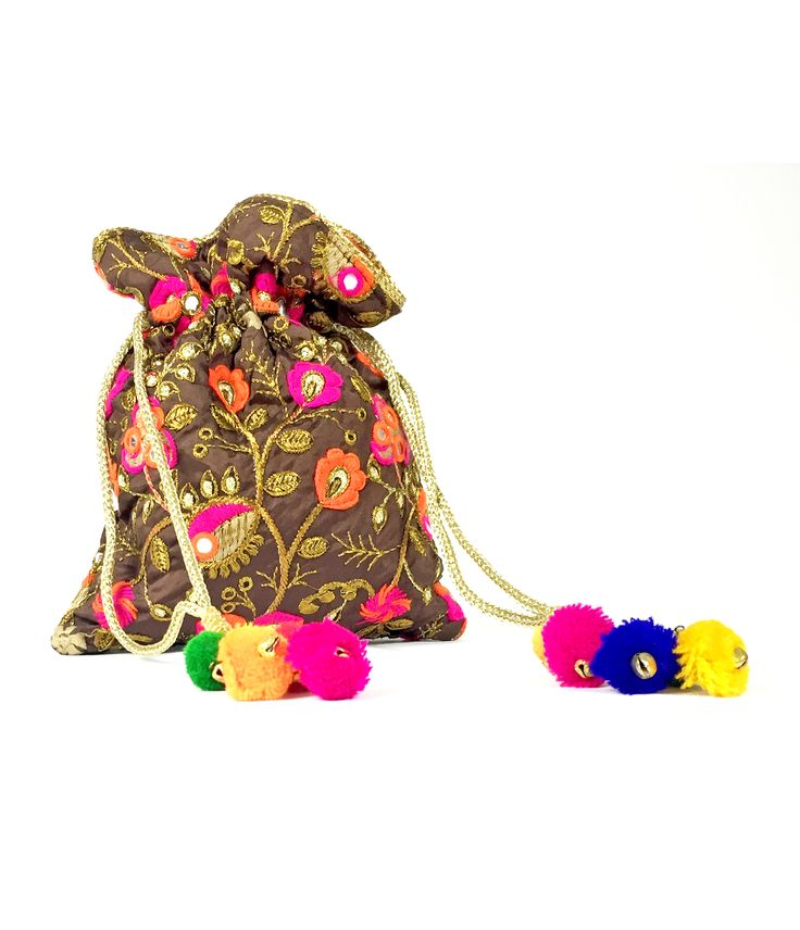 Embroidered and Embellished Potli bags. Perfect for weddings, Viah, Nikah or Shaadi. Get your stylish potli today. Silk Base, High quality product. From California with Love. Ship time 1-3days :-)