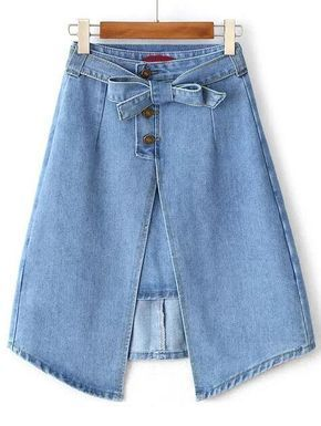22dd4b9c7c Split Front Denim A Line Skirt With Self Tie en 2019