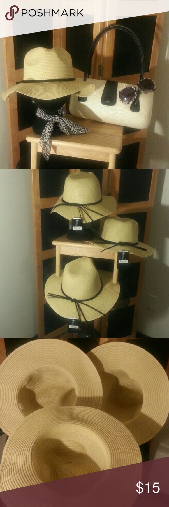 FLOPPY FEDORA HAT W/Black BAND FLOPPY FEDORA HAT - Natural Cream color w/ black band, Lightweight and Flexible, Can be worn to dress up or down your summer outfits!  ONE SIZE FITS ALL,  NWT, EXCELLENT CONDITION!! 🚫NO PETS 🚫NO SMOKE 🚫NO FLAWS  👒  **3 AVAILABLE** (LISTING PRICE PER HAT EACH) Hype Accessories Hats