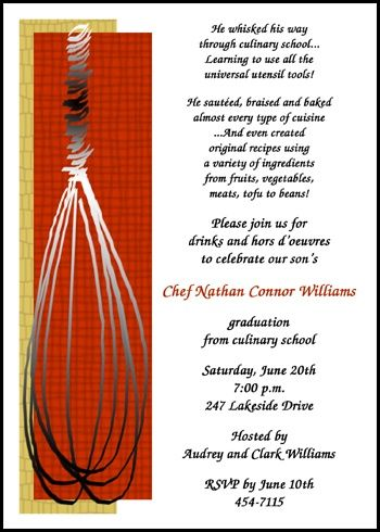 cooking whisk new chef culinary announcement invitation cards for graduation commencement and graduating ceremony at InvitationsByU, our card number 7638IBU-LM