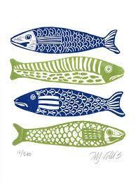 Bildergebnis für linoldruck fisch