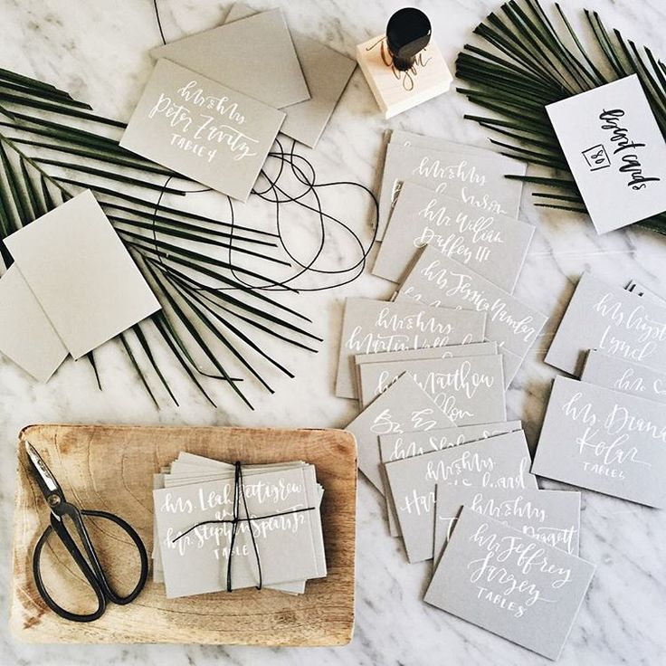addressing wedding invitations married woman doctor%0A Grey with White Hand Lettering Calligraphy Place Card  Pretty FontsEnvelope  AddressingInvitation