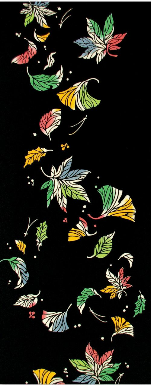 Japanese Tenugui Towel Cotton Fabric, Autumn Leaves, Maple & Ginkgo Leaf, Hand Dyed Fabric, Modern Art Fabric, Wall Hanging Decor, JapanLovelyCrafts