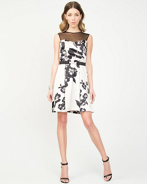Satin Floral Print Illusion Dress