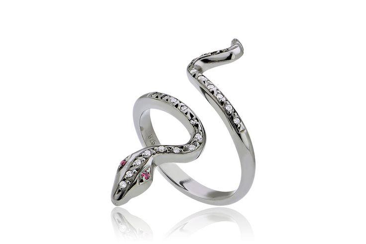 Ring With Snake Δαχτυλίδι με άσπρα και κόκκινα cz από οξειδωμένο ασήμι 925.Price:90€