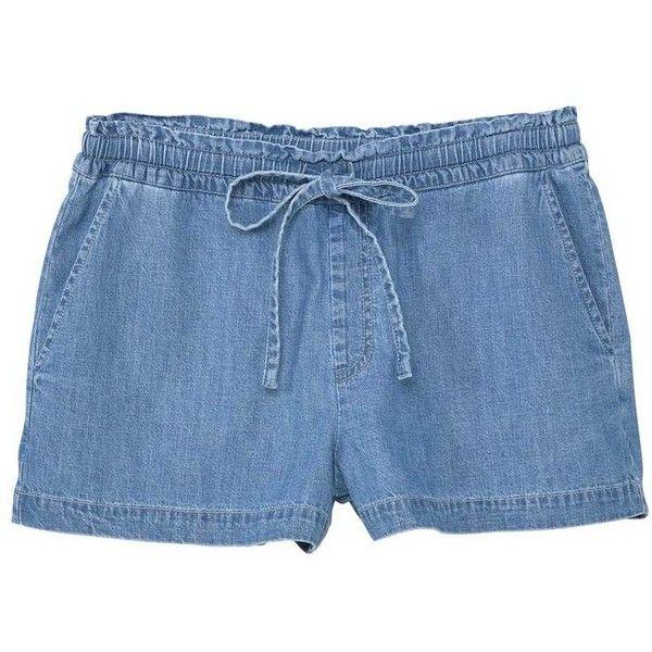 Medium Denim Shorts (235 MXN) ❤ liked on Polyvore featuring shorts, embellished denim shorts, embellished shorts, stretch waist shorts, jean shorts and elastic waist denim shorts