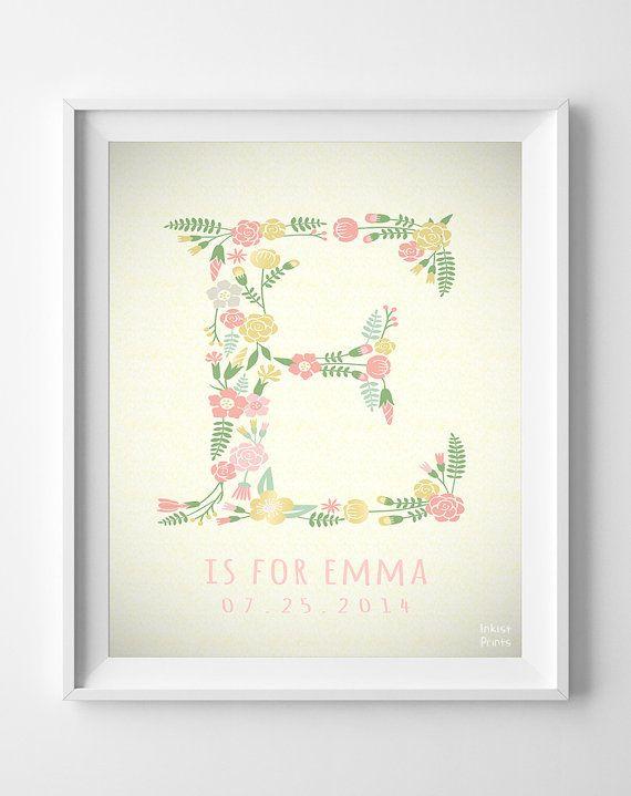E Monogram, Nursery Art, Custom Name, Emma print, Evan, Letter, Alphabet E, Personalized Name, Initial Print, Boy, Girl, Nursery [NO 241]
