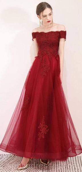 7fd8b971ab Off Shoulder Dark Red Lace Long Evening Prom Dresses, Cheap Party Cust –  SposaDresses #prom #promdresses #longpromdresses #cheapromdresses  #Dressesformal ...