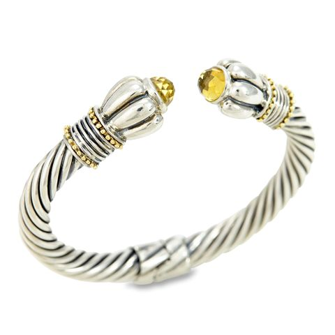 Citrine Twisted Cable Bangle Set in Sterling Silver & 18K Gold Accents | Cirque Jewels