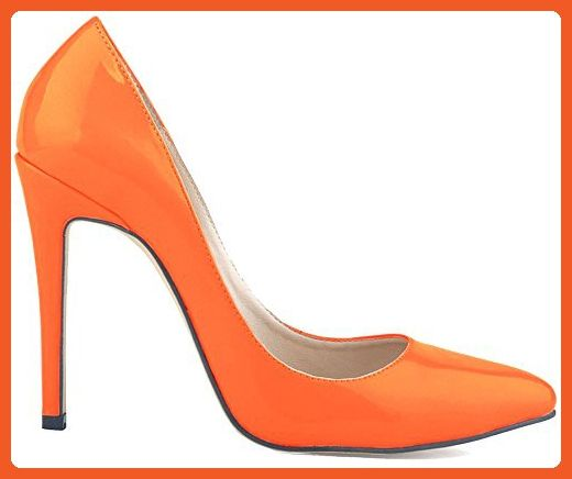 Beinfaith Womens Leather High-Heeled Pumps Pointed Toe US Size 9.5 Orange - Pumps for women (*Amazon Partner-Link)