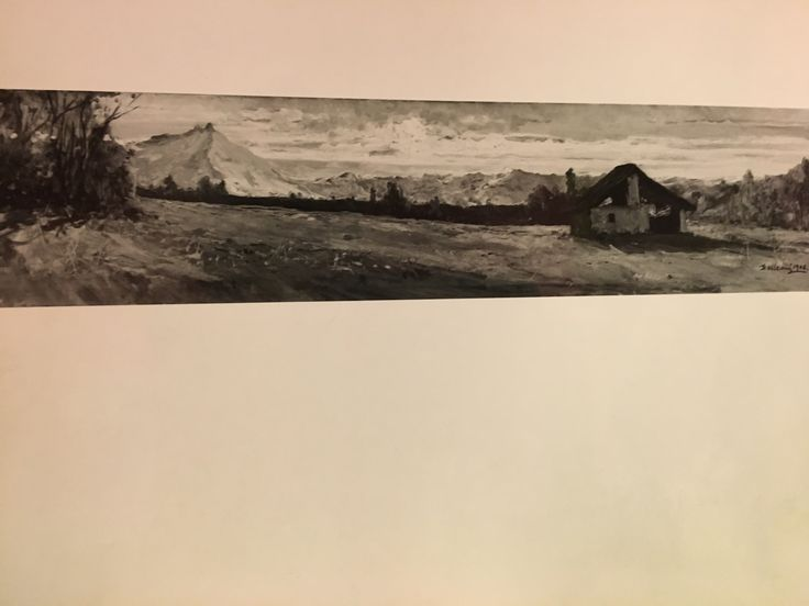 DELLEANI LORENZO ( Pollone Biella 1840 - Torino 1908) Olio su tela firmato e datato 1906. Opera con cornice dorata in perfetto stato di conservazione.cm. 149,5x35,2.( Paesaggio con baita )