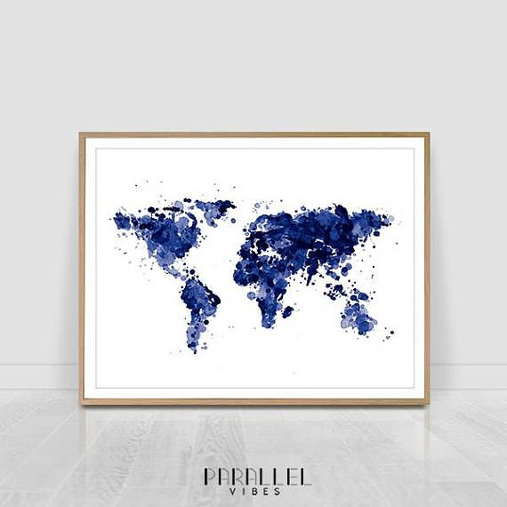 Check out this item in my etsy shop httpsetsylisting check out this item in my etsy shop httpsetsy listing565688706watercolour world map print blue tones printable wall art pinterest gumiabroncs Images