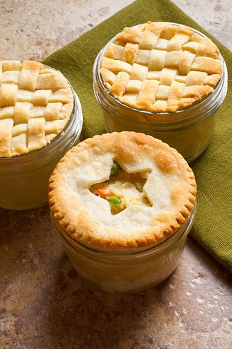 These Mini Chicken Pot Pies (by thenerdswife) are made in a wide-mouth pint canning jar! So cute!!
