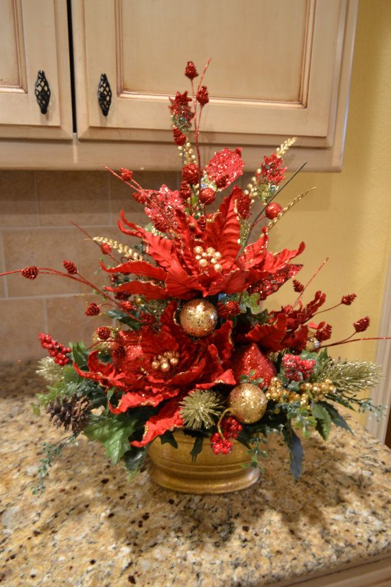 Elegant Poinsettia Arrangement by kristenscreations on Etsy