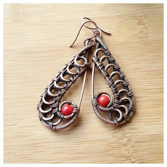 Copper red coral earring wire coral earrings от FromRONIKwithLove