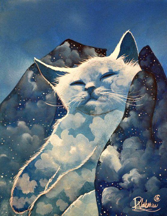 """Good night  """"A CLOUD IN HANDS"""" Original painting by Raphaël Vavasseur art Fine art prints: http://ift.tt/2pn2nzk"""