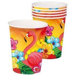 Bekertjes Flamingo Hawaii -  Een pakje met 6 bekertjes bedrukt met tropische bloemen en een flamingo. | www.feestartikelen.nl