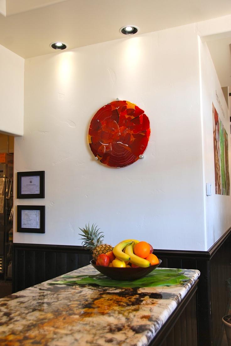 "wall fused art, ""Adventures in Paradise"" by artist rick strini ,www.striniartglass.com"